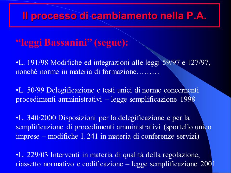 Il processo di cambiamento nella P.A. leggi Bassanini (segue): L. 191/98 Modifiche ed integrazioni alle leggi 59/97 e 127/97, nonché norme in materia