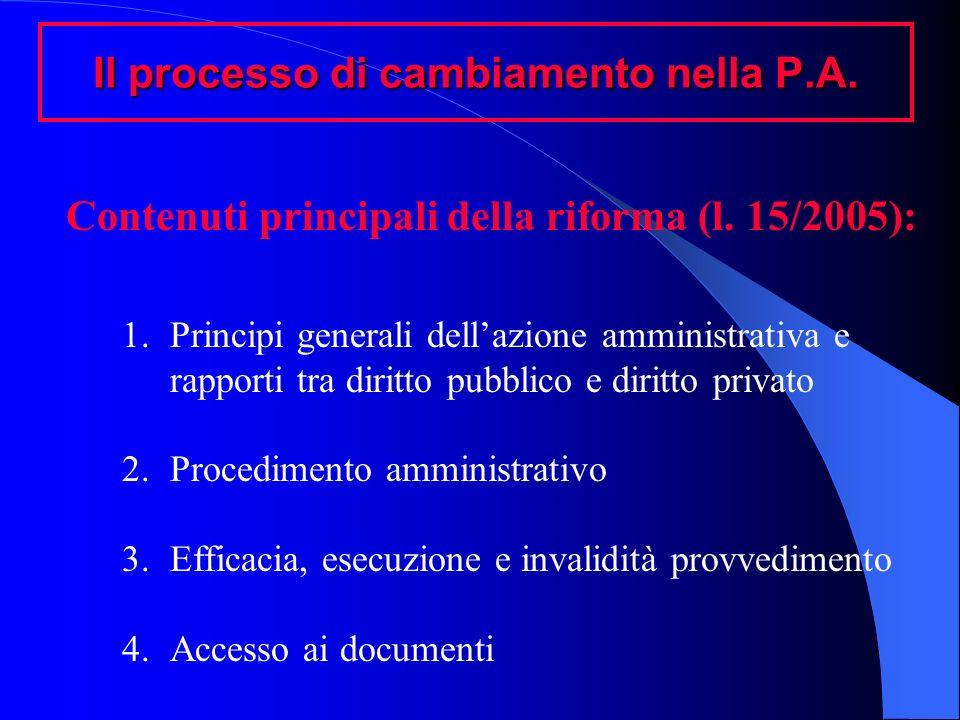 Il processo di cambiamento nella P.A. Contenuti principali della riforma (l. 15/2005): 1.Principi generali dellazione amministrativa e rapporti tra di