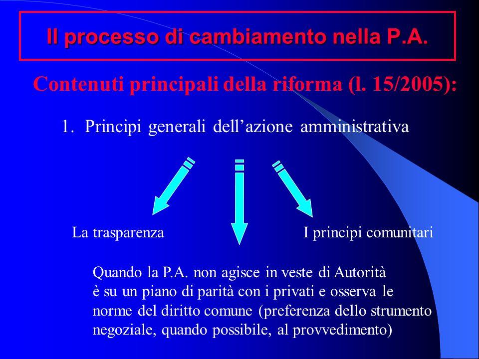 Il processo di cambiamento nella P.A. Contenuti principali della riforma (l. 15/2005): 1.Principi generali dellazione amministrativa La trasparenzaI p