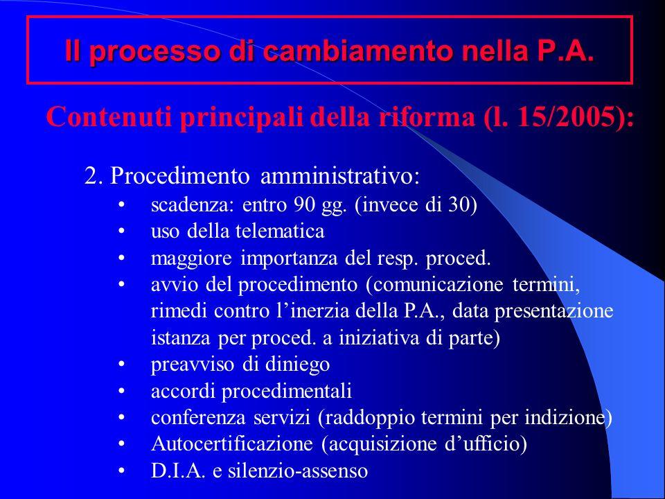 Il processo di cambiamento nella P.A. Contenuti principali della riforma (l. 15/2005): 2. Procedimento amministrativo: scadenza: entro 90 gg. (invece