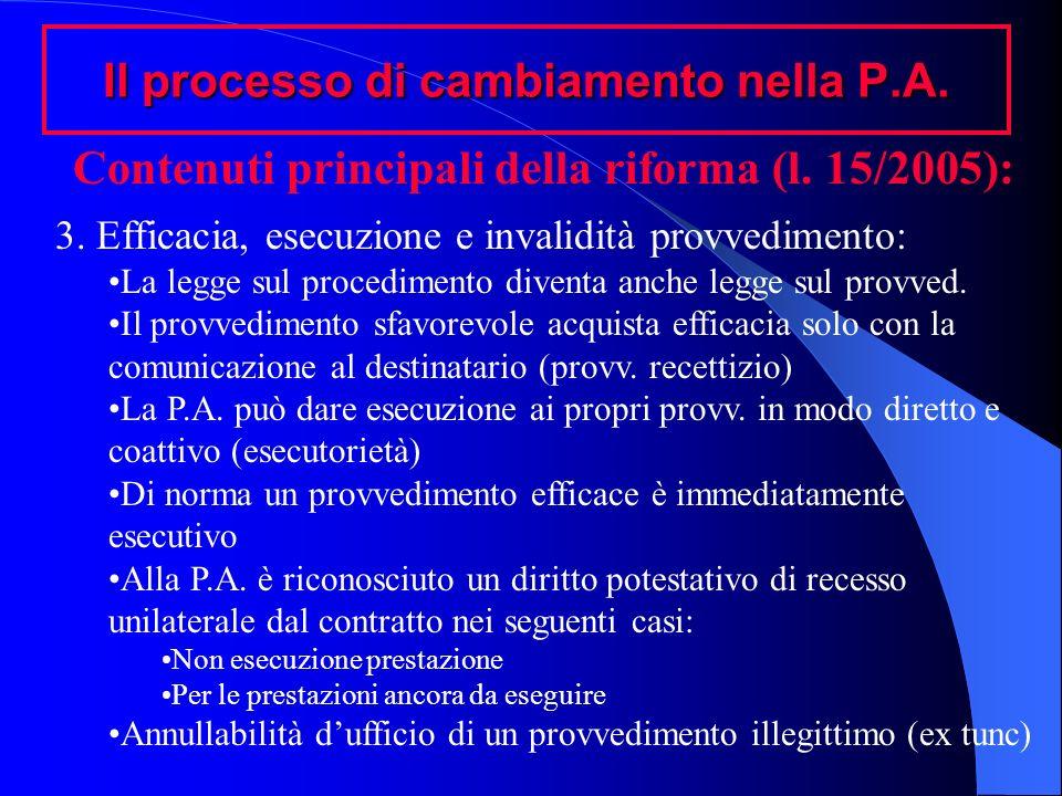 Il processo di cambiamento nella P.A. Contenuti principali della riforma (l. 15/2005): 3. Efficacia, esecuzione e invalidità provvedimento: La legge s