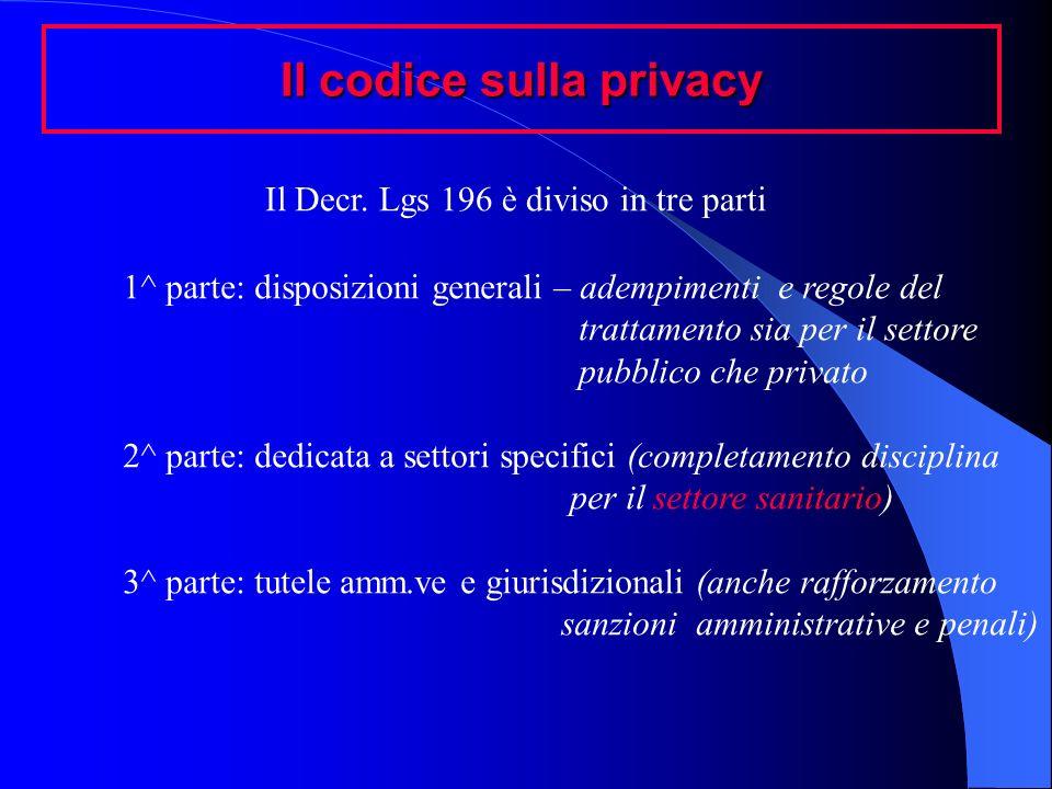Il codice sulla privacy Il Decr. Lgs 196 è diviso in tre parti 1^ parte: disposizioni generali – adempimenti e regole del trattamento sia per il setto