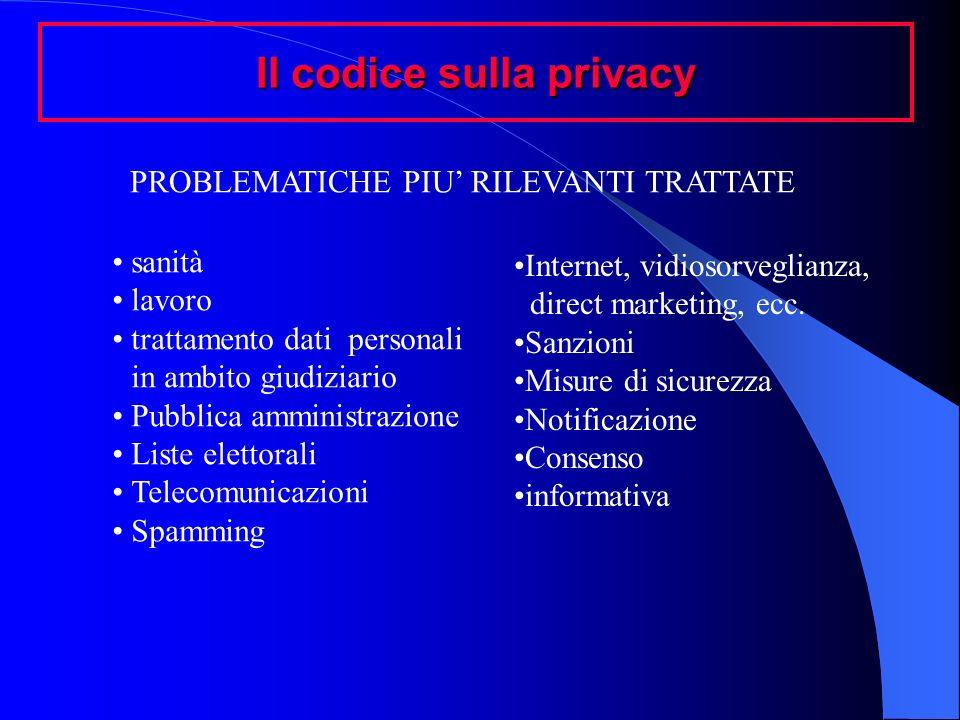 Il codice sulla privacy PROBLEMATICHE PIU RILEVANTI TRATTATE sanità lavoro trattamento dati personali in ambito giudiziario Pubblica amministrazione L