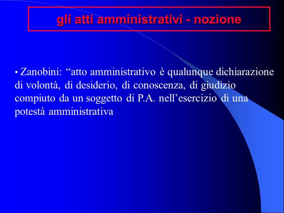 gli atti amministrativi - nozione Zanobini: atto amministrativo è qualunque dichiarazione di volontà, di desiderio, di conoscenza, di giudizio compiut