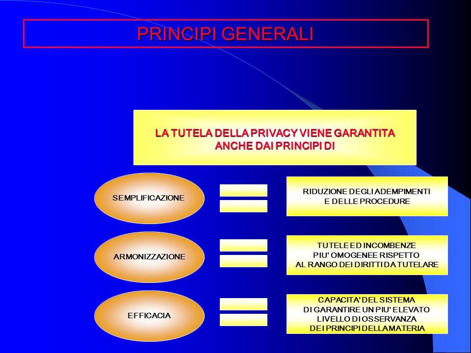 PRINCIPI GENERALI LA TUTELA DELLA PRIVACY VIENE GARANTITA ANCHE DAI PRINCIPI DI SEMPLIFICAZIONE ARMONIZZAZIONE EFFICACIA RIDUZIONE DEGLI ADEMPIMENTI E
