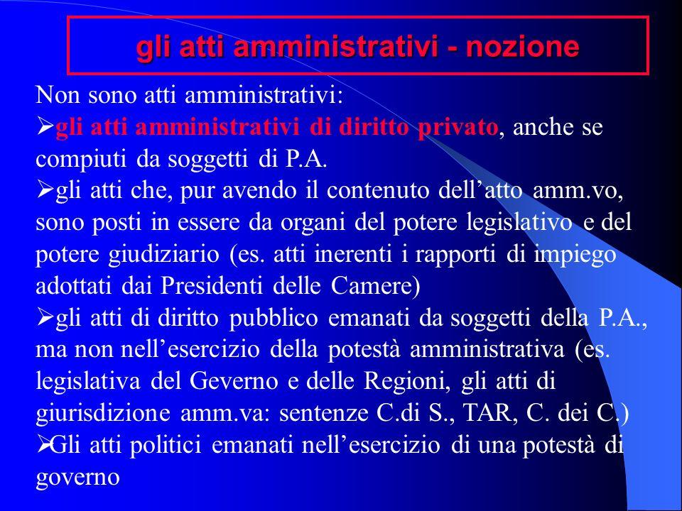 gli atti amministrativi - nozione Non sono atti amministrativi: gli atti amministrativi di diritto privato, anche se compiuti da soggetti di P.A. gli