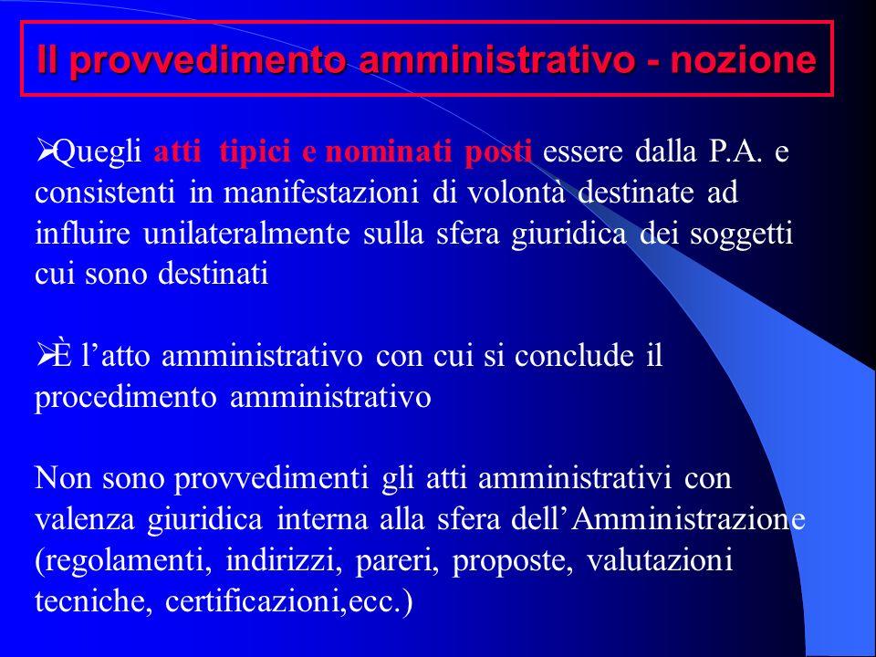 Il provvedimento amministrativo - nozione Quegli atti tipici e nominati posti essere dalla P.A. e consistenti in manifestazioni di volontà destinate a