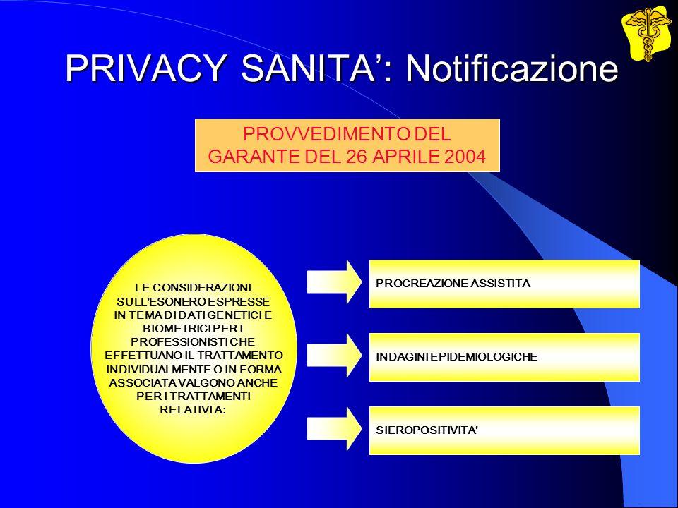 PRIVACY SANITA: Notificazione LE CONSIDERAZIONI SULLESONERO ESPRESSE IN TEMA DI DATI GENETICI E BIOMETRICI PER I PROFESSIONISTI CHE EFFETTUANO IL TRAT