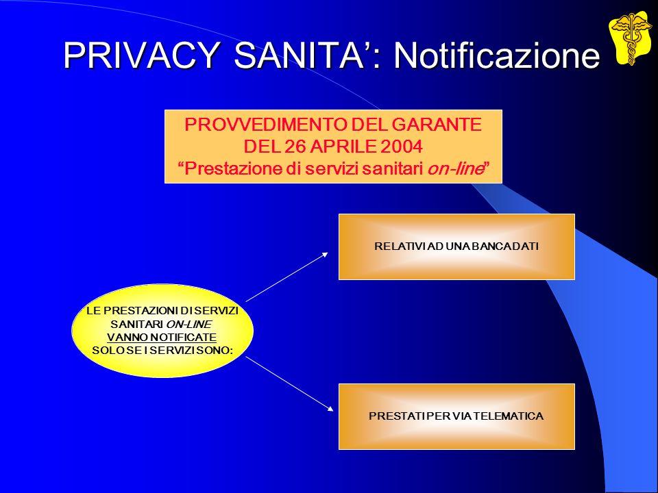 PRIVACY SANITA: Notificazione LE PRESTAZIONI DI SERVIZI SANITARI ON-LINE VANNO NOTIFICATE SOLO SE I SERVIZI SONO: RELATIVI AD UNA BANCA DATI PRESTATI