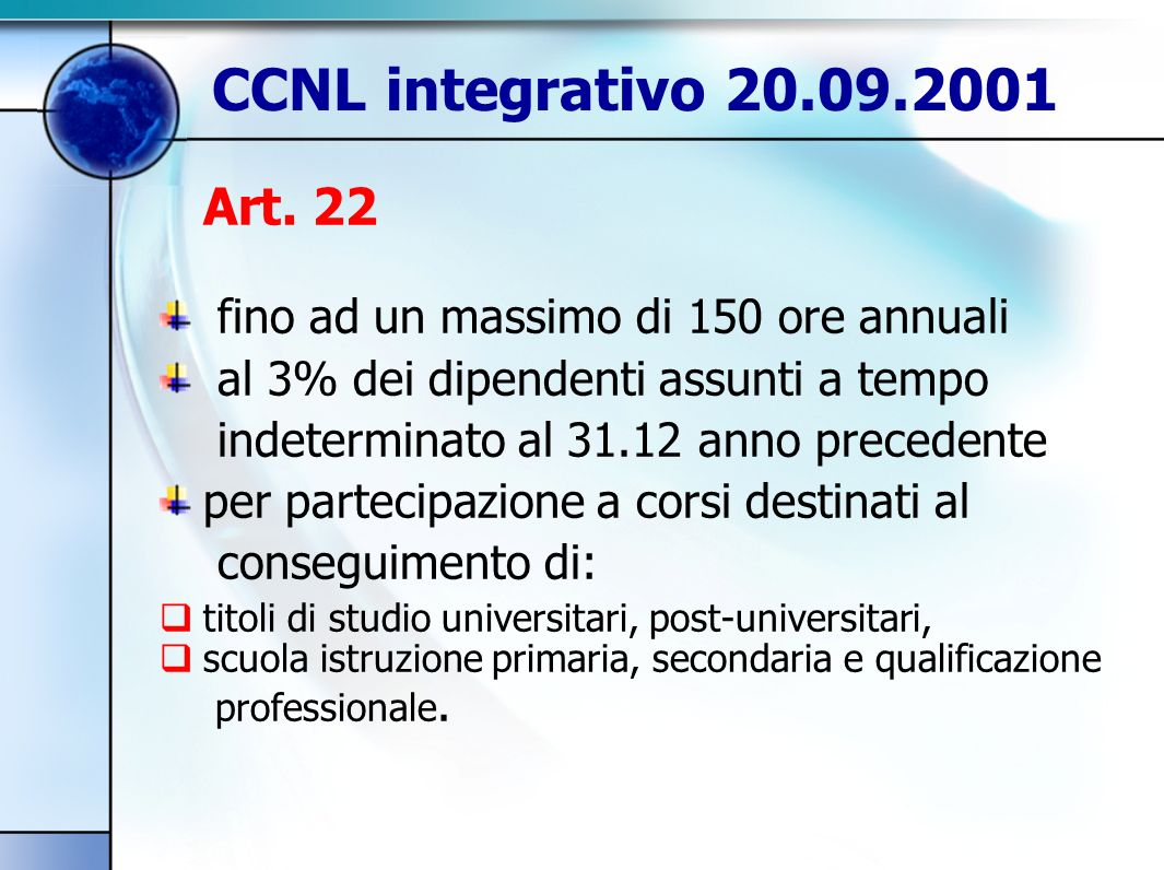 CCNL integrativo 20.09.2001 Art.