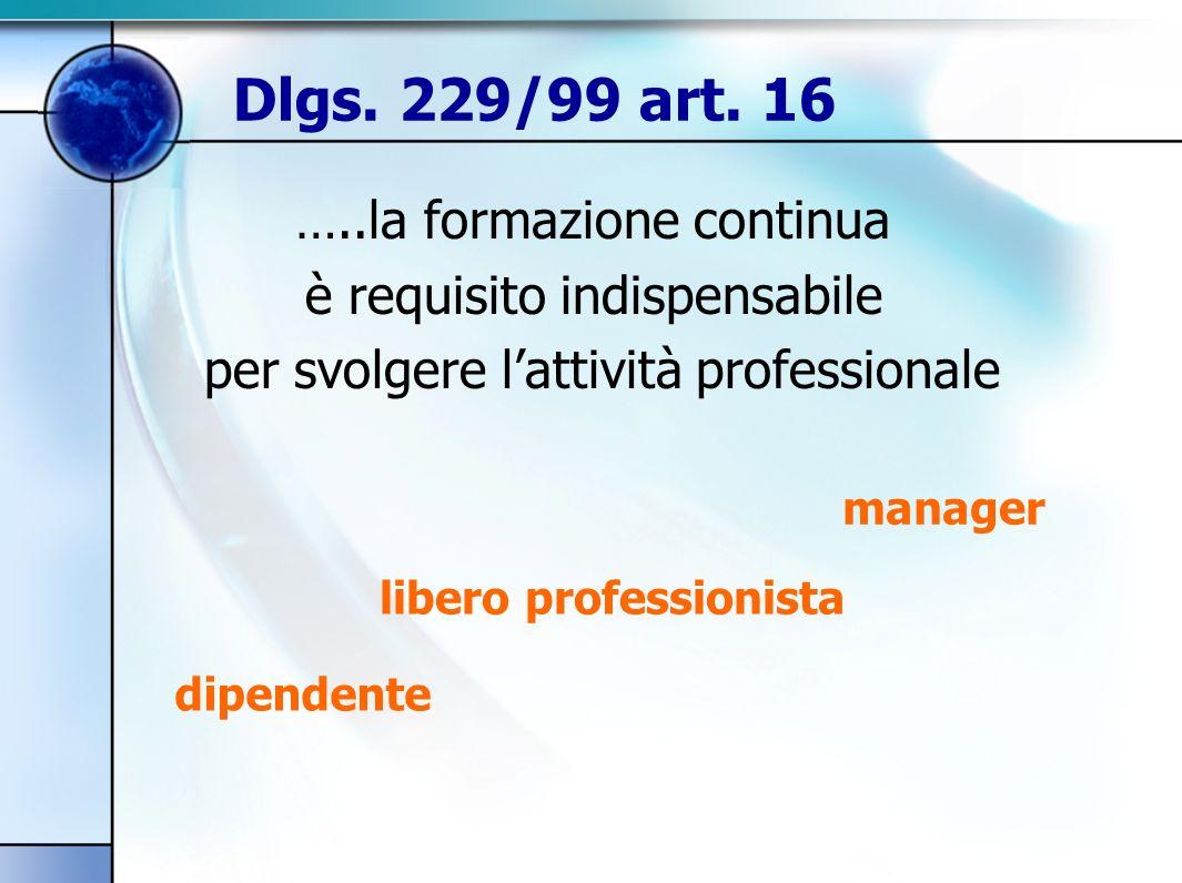 …..la formazione continua è requisito indispensabile per svolgere lattività professionale manager libero professionista dipendente Dlgs.