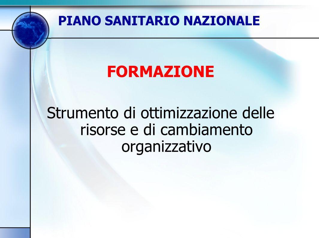FORMAZIONE Strumento di ottimizzazione delle risorse e di cambiamento organizzativo PIANO SANITARIO NAZIONALE