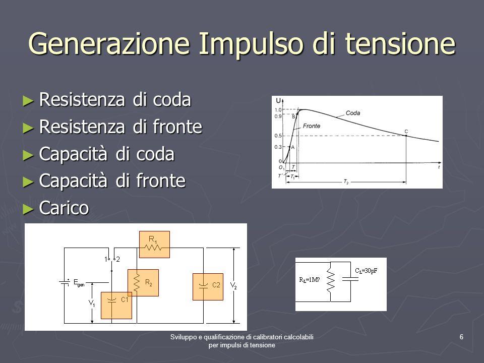 Sviluppo e qualificazione di calibratori calcolabili per impulsi di tensione 6 Generazione Impulso di tensione Resistenza di coda Resistenza di coda R