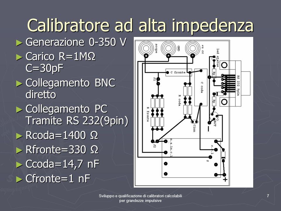 Sviluppo e qualificazione di calibratori calcolabili per grandezze impulsive 7 Calibratore ad alta impedenza Generazione 0-350 V Carico R=1M C=30pF Co