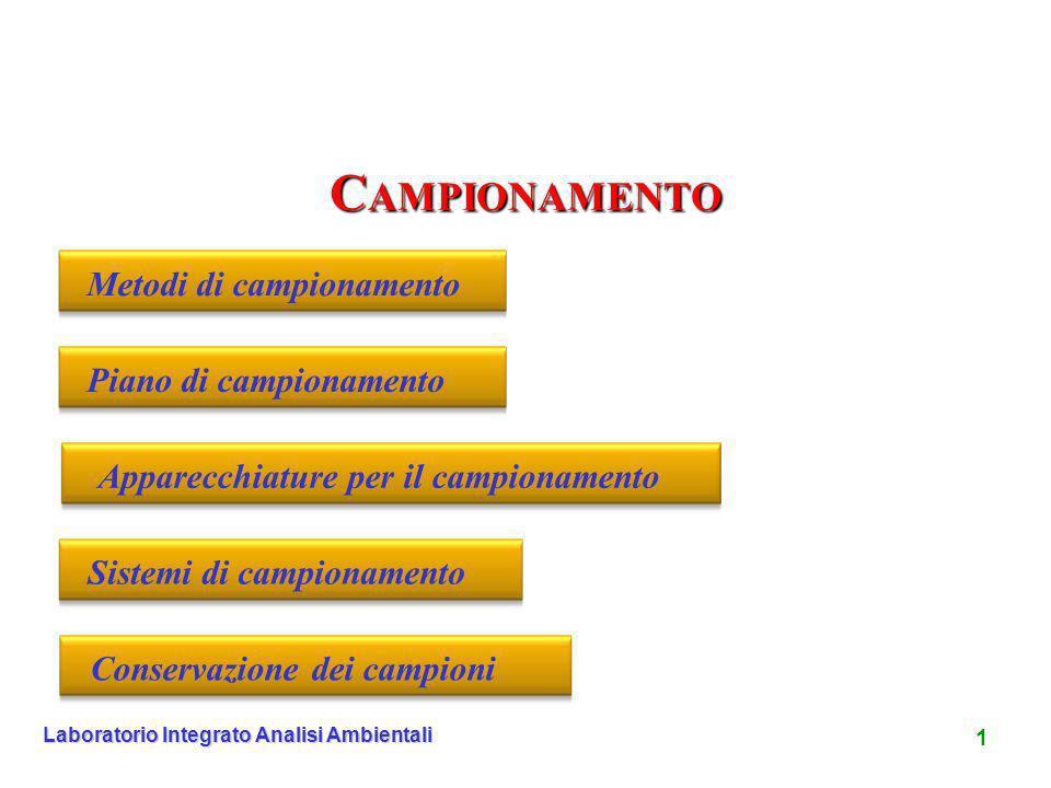 1 Laboratorio Integrato Analisi Ambientali C AMPIONAMENTO Metodi di campionamentoPiano di campionamentoApparecchiature per il campionamentoSistemi di