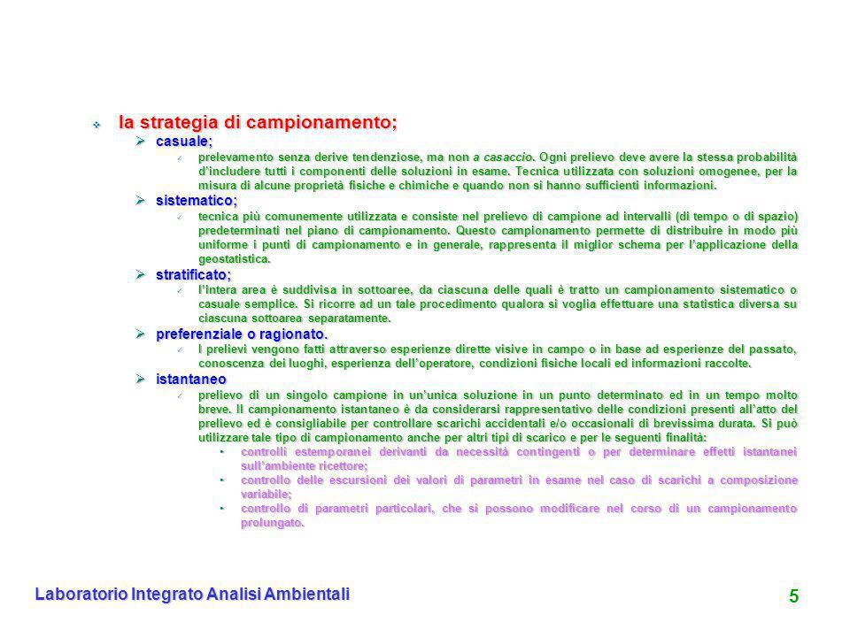 5 Laboratorio Integrato Analisi Ambientali la strategia di campionamento; la strategia di campionamento; casuale; casuale; prelevamento senza derive t