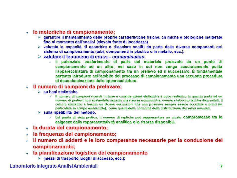7 Laboratorio Integrato Analisi Ambientali le metodiche di campionamento; le metodiche di campionamento; garantire il mantenimento delle proprie carat