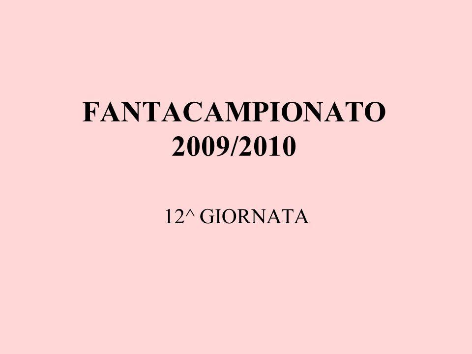 FANTACAMPIONATO 2009/2010 12^ GIORNATA