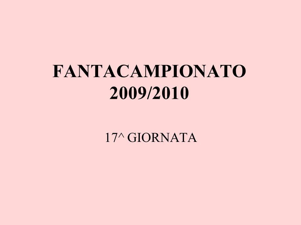 FANTACAMPIONATO 2009/2010 17^ GIORNATA
