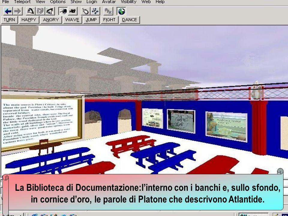 La Biblioteca di Documentazione:linterno con i banchi e, sullo sfondo, in cornice doro, le parole di Platone che descrivono Atlantide.