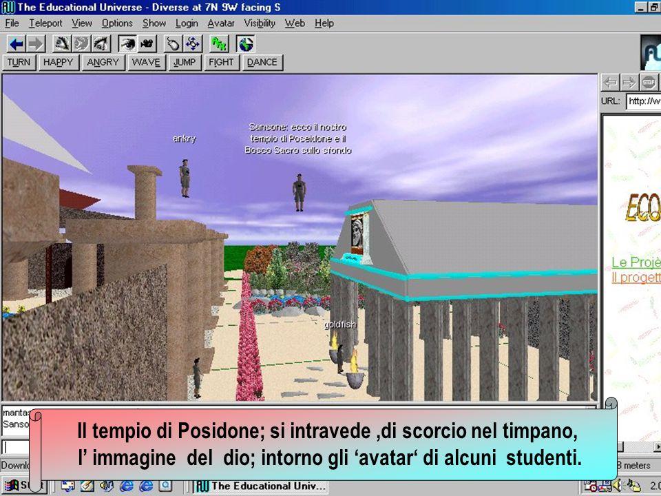 Il tempio di Posidone; si intravede,di scorcio nel timpano, l immagine del dio; intorno gli avatar di alcuni studenti.