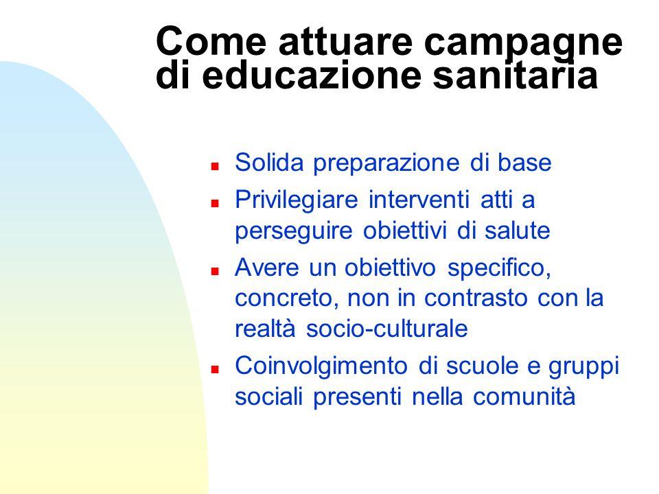 Come attuare campagne di educazione sanitaria n Solida preparazione di base n Privilegiare interventi atti a perseguire obiettivi di salute n Avere un