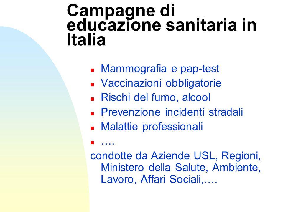 Campagne di educazione sanitaria in Italia n Mammografia e pap-test n Vaccinazioni obbligatorie n Rischi del fumo, alcool n Prevenzione incidenti stra