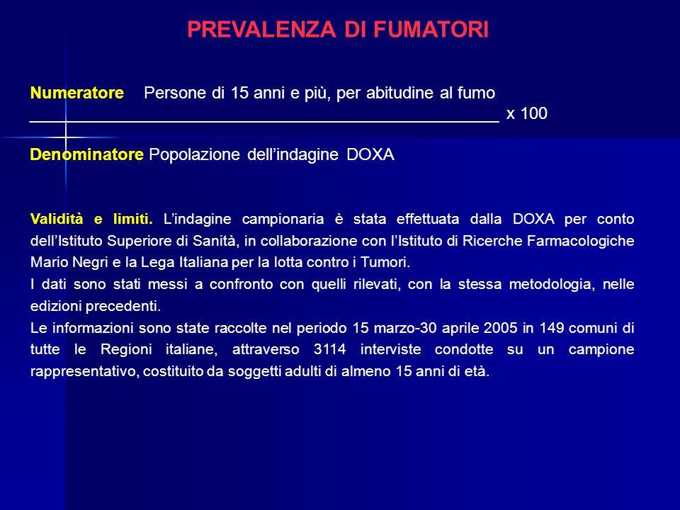 PREVALENZA DI FUMATORI Numeratore Persone di 15 anni e più, per abitudine al fumo __________________________________________________ x 100 Denominator