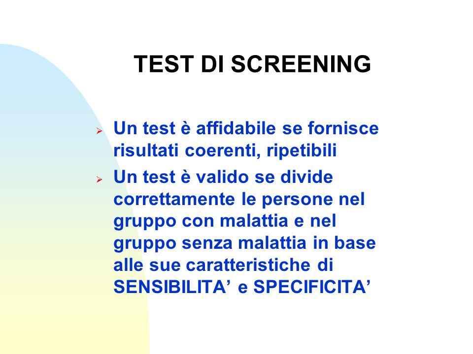TEST DI SCREENING Un test è affidabile se fornisce risultati coerenti, ripetibili Un test è valido se divide correttamente le persone nel gruppo con m