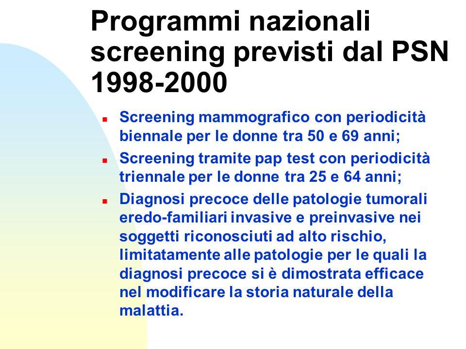 Programmi nazionali screening previsti dal PSN 1998-2000 n Screening mammografico con periodicità biennale per le donne tra 50 e 69 anni; n Screening