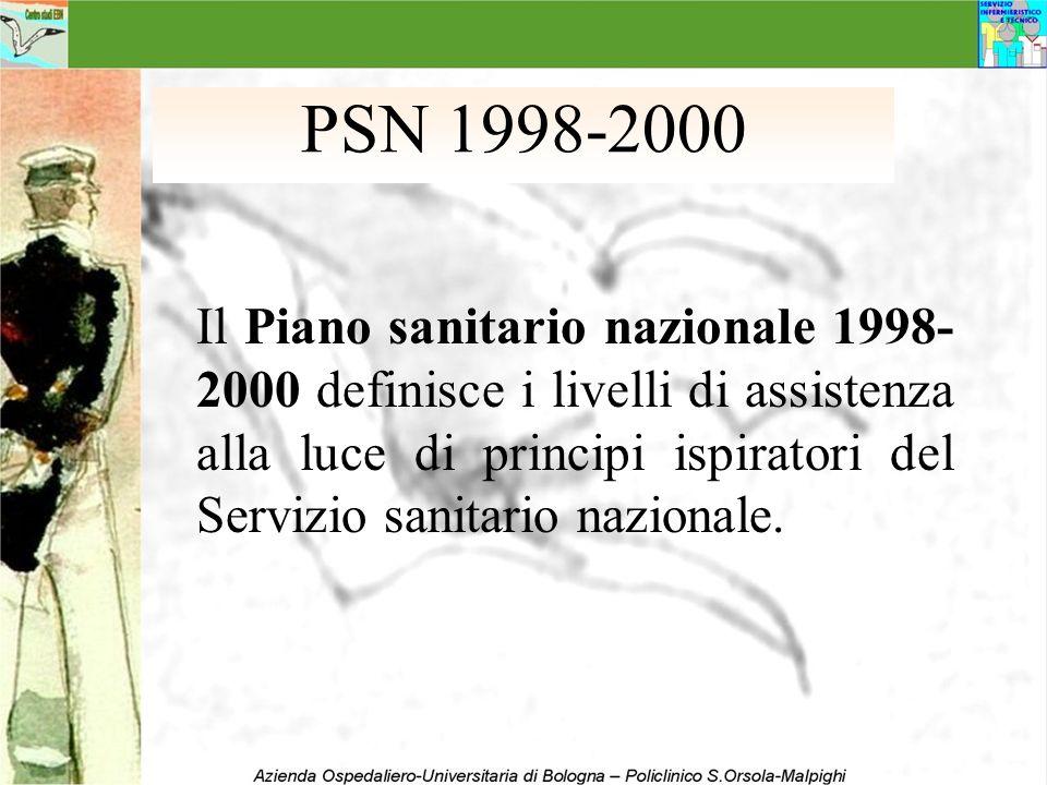 PSN 1998-2000 Il Piano sanitario nazionale 1998- 2000 definisce i livelli di assistenza alla luce di principi ispiratori del Servizio sanitario nazion