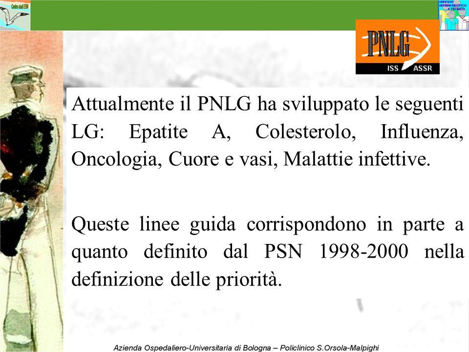 Attualmente il PNLG ha sviluppato le seguenti LG: Epatite A, Colesterolo, Influenza, Oncologia, Cuore e vasi, Malattie infettive. Queste linee guida c