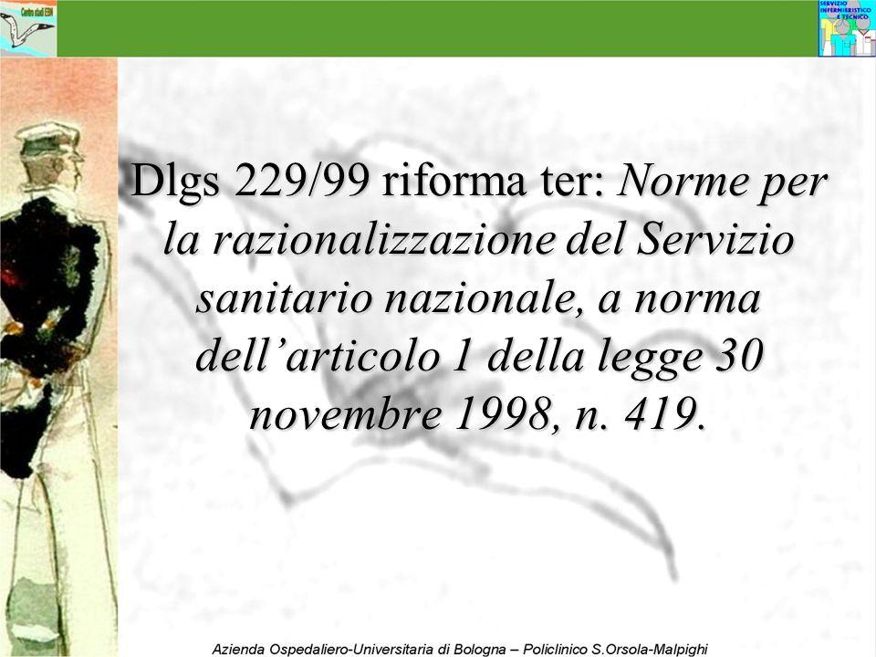 Dlgs 229/99 riforma ter: Norme per la razionalizzazione del Servizio sanitario nazionale, a norma dellarticolo 1 della legge 30 novembre 1998, n. 419.