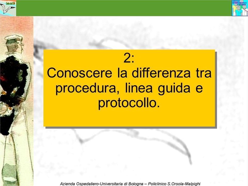 2: Conoscere la differenza tra procedura, linea guida e protocollo. 2: Conoscere la differenza tra procedura, linea guida e protocollo.