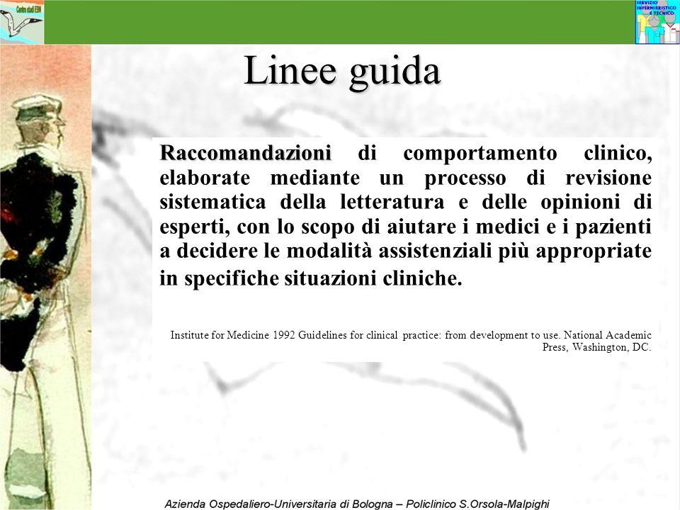 Linee guida Raccomandazioni Raccomandazioni di comportamento clinico, elaborate mediante un processo di revisione sistematica della letteratura e dell