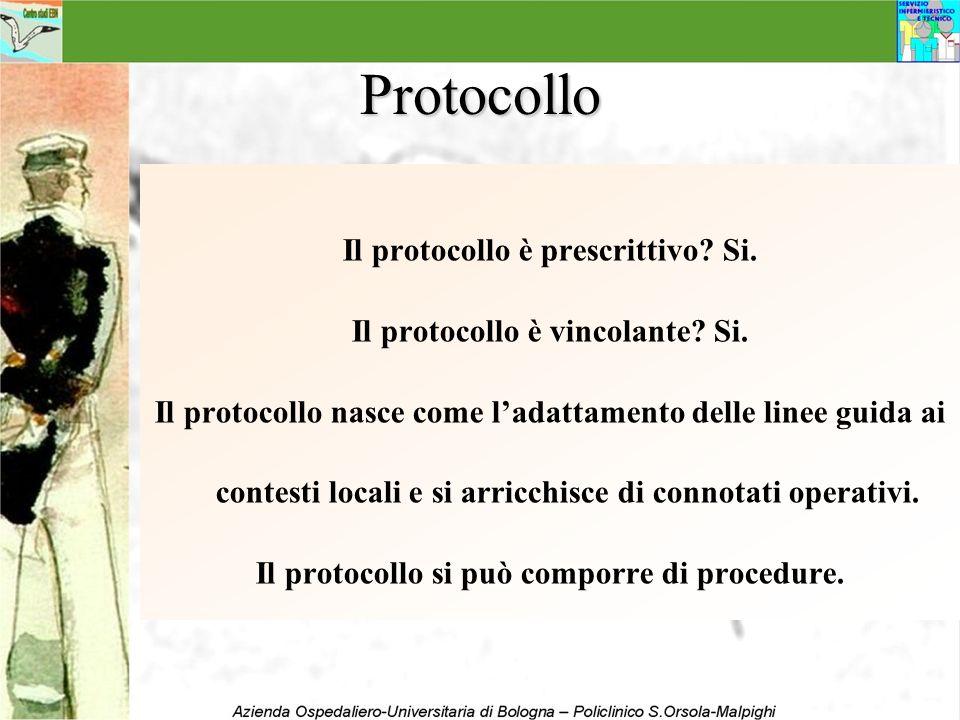 Protocollo Il protocollo è prescrittivo? Si. Il protocollo è vincolante? Si. Il protocollo nasce come ladattamento delle linee guida ai contesti local