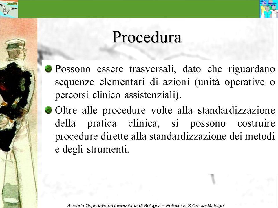 Procedura Possono essere trasversali, dato che riguardano sequenze elementari di azioni (unità operative o percorsi clinico assistenziali). Oltre alle