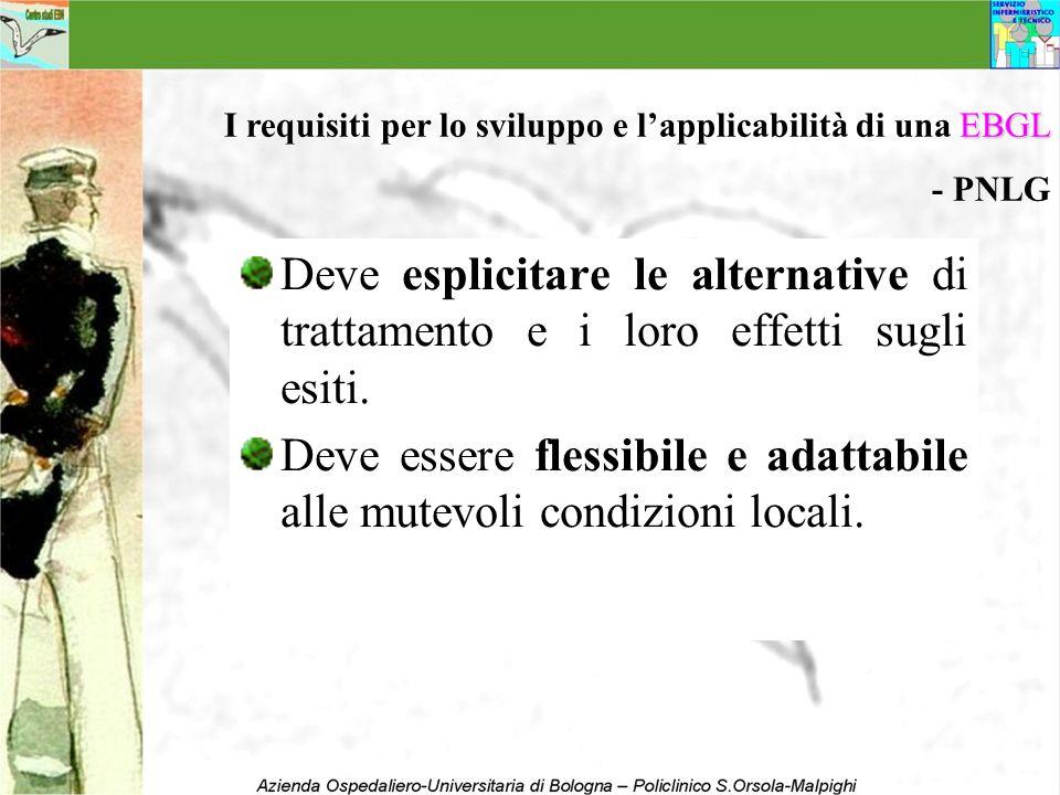 Deve esplicitare le alternative di trattamento e i loro effetti sugli esiti. Deve essere flessibile e adattabile alle mutevoli condizioni locali. EBGL