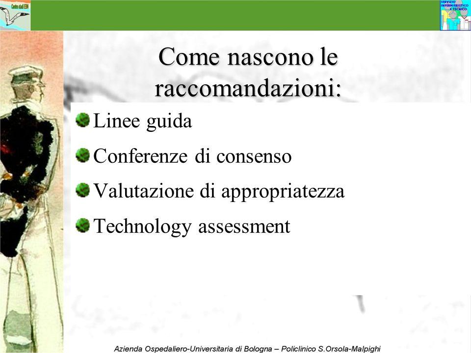 Come nascono le raccomandazioni: Linee guida Conferenze di consenso Valutazione di appropriatezza Technology assessment