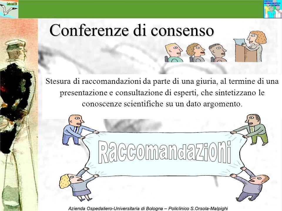 Conferenze di consenso Stesura di raccomandazioni da parte di una giuria, al termine di una presentazione e consultazione di esperti, che sintetizzano