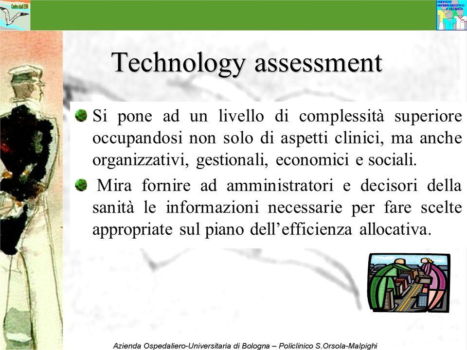 Technology assessment Si pone ad un livello di complessità superiore occupandosi non solo di aspetti clinici, ma anche organizzativi, gestionali, econ