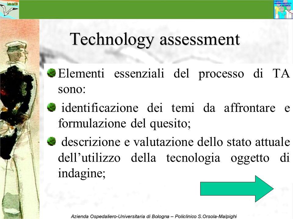 Technology assessment Elementi essenziali del processo di TA sono: identificazione dei temi da affrontare e formulazione del quesito; descrizione e va