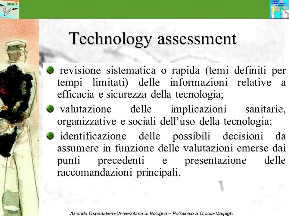 Technology assessment revisione sistematica o rapida (temi definiti per tempi limitati) delle informazioni relative a efficacia e sicurezza della tecn