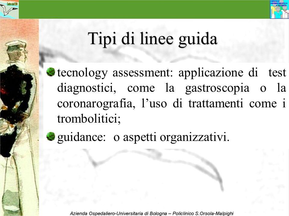 Tipi di linee guida tecnology assessment: applicazione di test diagnostici, come la gastroscopia o la coronarografia, luso di trattamenti come i tromb