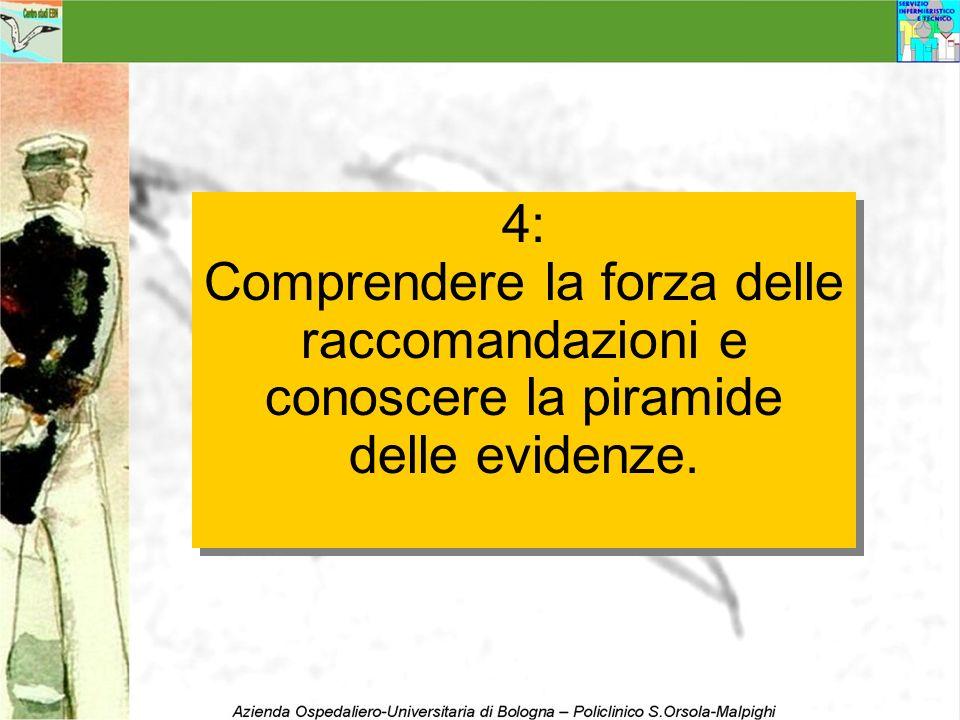 4: Comprendere la forza delle raccomandazioni e conoscere la piramide delle evidenze. 4: Comprendere la forza delle raccomandazioni e conoscere la pir