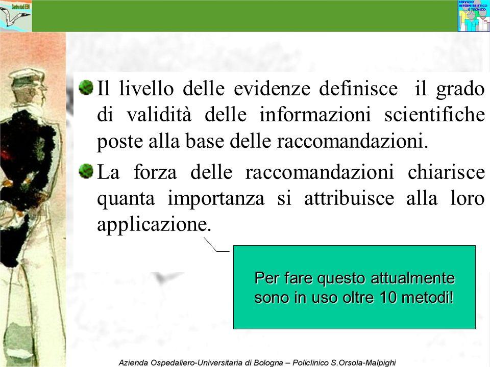 Il livello delle evidenze definisce il grado di validità delle informazioni scientifiche poste alla base delle raccomandazioni. La forza delle raccoma