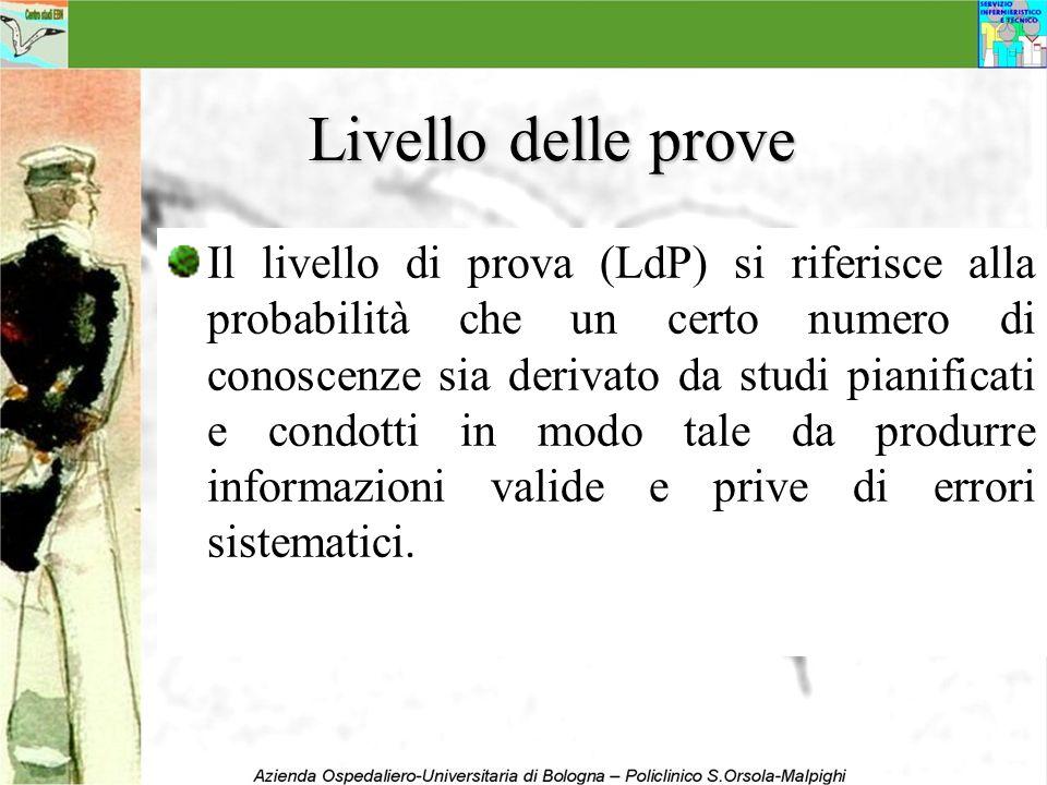 Livello delle prove Il livello di prova (LdP) si riferisce alla probabilità che un certo numero di conoscenze sia derivato da studi pianificati e cond