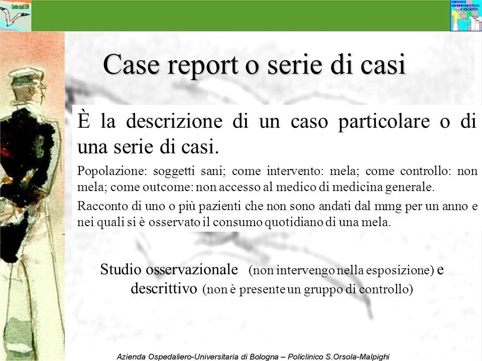 Case report o serie di casi È la descrizione di un caso particolare o di una serie di casi. Popolazione: soggetti sani; come intervento: mela; come co