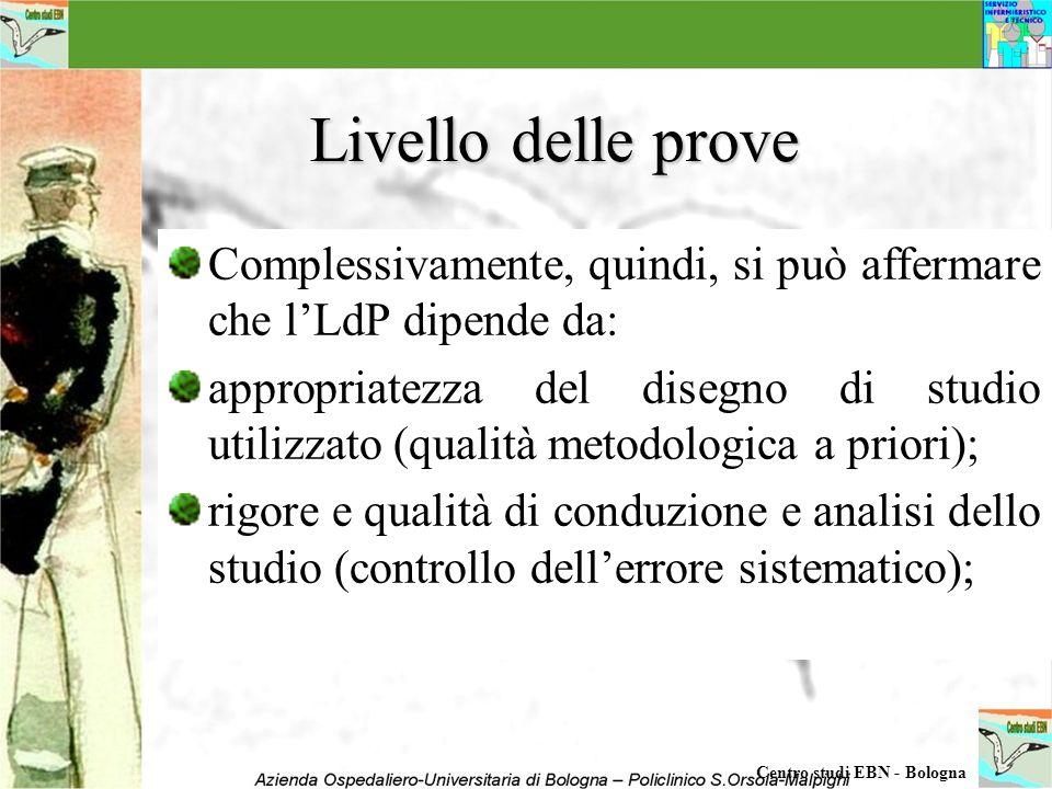 Livello delle prove Complessivamente, quindi, si può affermare che lLdP dipende da: appropriatezza del disegno di studio utilizzato (qualità metodolog