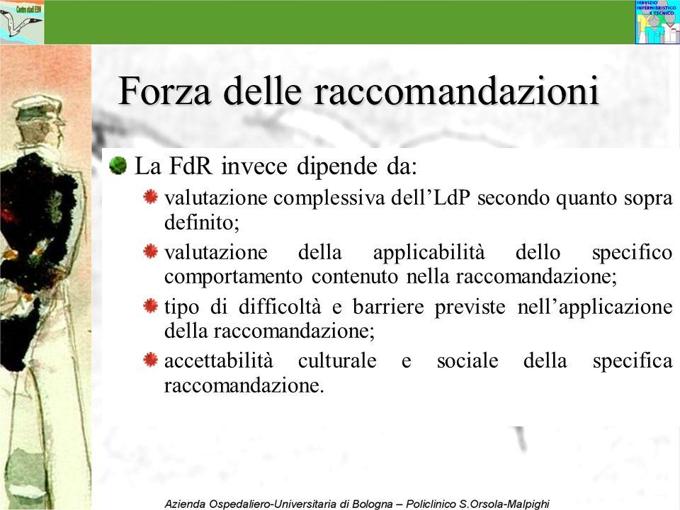 Forza delle raccomandazioni La FdR invece dipende da: valutazione complessiva dellLdP secondo quanto sopra definito; valutazione della applicabilità d